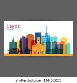 Lagos city architecture silhouette. Colorful skyline. City flat design. Vector business card.