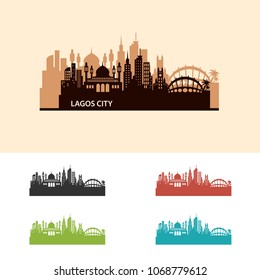 Lagos City Skyline Logo Vector