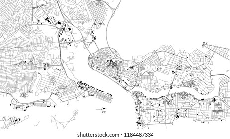 Lagos map, satellite view, city, Nigeria. Streets and house on a white background