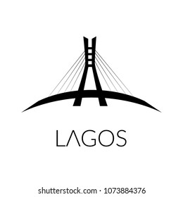 Lagos, Nigeria - 04/21/2018: Lagos suspension bridge monument