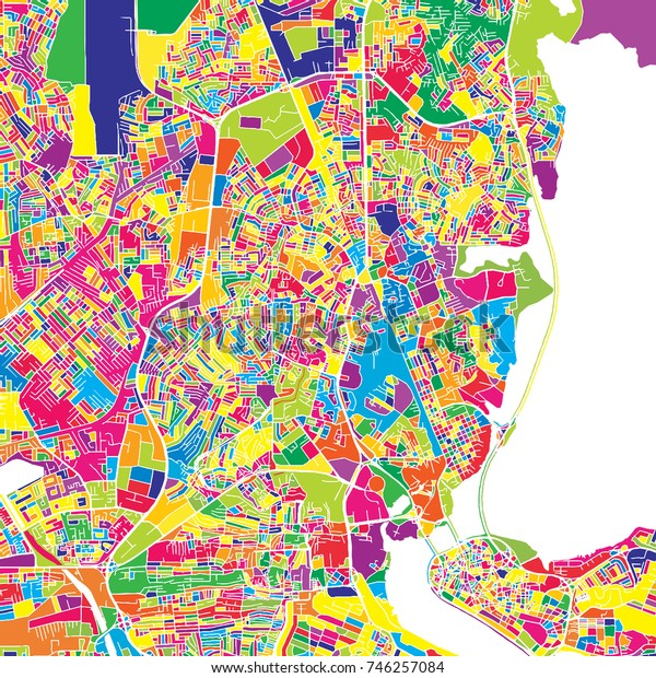 Lagos, Nigeria, colorful vector map.  White streets, railways and water. Bright colored landmark shapes. Art print pattern.
