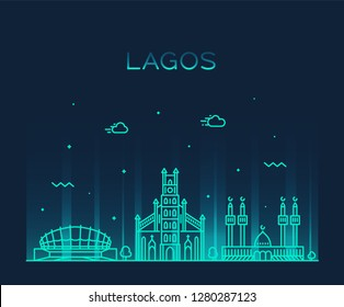 Lagos skyline, Nigeria. Trendy vector illustration, linear style