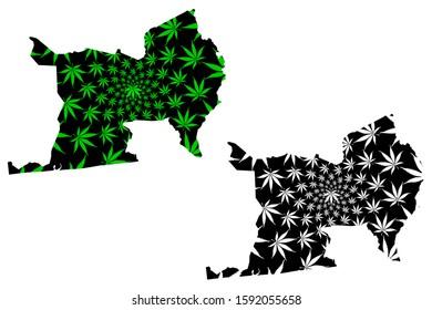 Lagunes District (Ivory Coast, Republic of Cote dIvoire) map is designed cannabis leaf green and black, Lagunes map made of marijuana (marihuana,THC) foliage