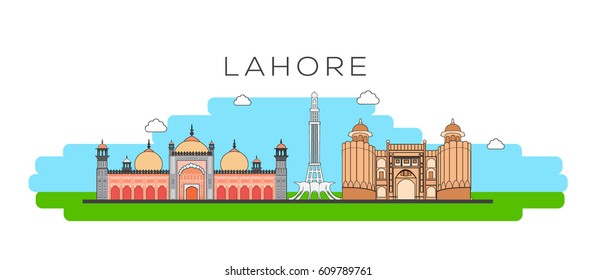 Lahore City skyline linear Illustration