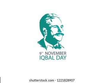 Lahore, Pakistan - 05 November, 2018 :Allama Muhammad Iqbal 9th November (National Poet of Pakistan) is written in english