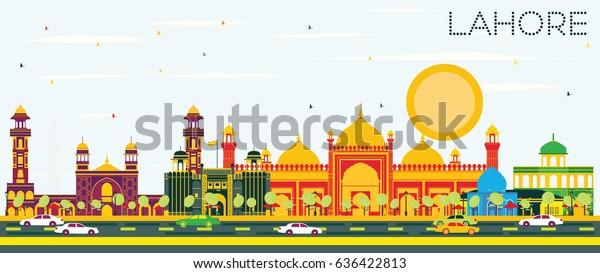 Blue Sky Fridge Magnet Lahore Skyline with Color Landmarks