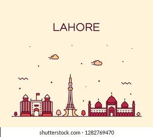 Lahore skyline, Pakistan. Trendy vector illustration, linear style