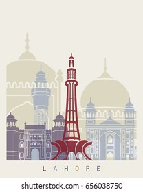 Lahore skyline poster in editable vector file