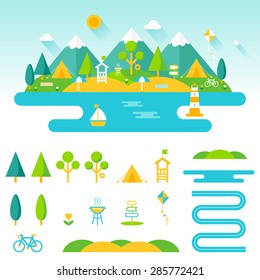Lake, beach, woods and mountains summer landscape. Set of outdoor, camping and recreation elements to create custom designs