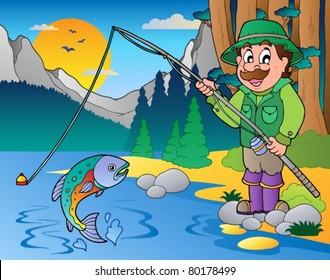 Lake with cartoon fisherman 1 - vector illustration.