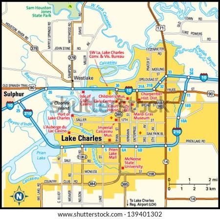 Lake Charles Louisiana Area Map Stock Vector Royalty Free