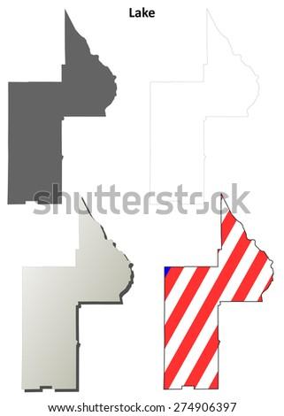 Lake County Florida Map.Lake County Florida Outline Map Set Stock Vector Royalty Free