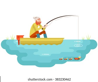 Lake fishing Adult Fisherman Fishing Rod Boat Birds Isolated Concept Character Icon Flat Design Template Vector Illustration