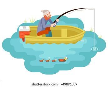Lake Fishing Adult Fisherman with Fishing Rod Boat Birds Isolated Concept Character Isometric Icon Flat Design Template Vector Illustration