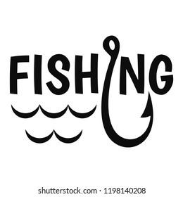 Lake fishing hook logo. Simple illustration of lake fishing hook vector logo for web design isolated on white background