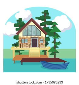 Lake house flat style vector stock illustration. Picturesque landscape with a modern cottege, boat, tree, cloudes. Country house concept.