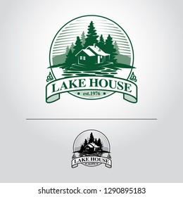 lake house or Log cabin vintage logo template vector.