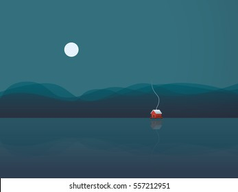 Lake house vector illustration background with cabin on water at night under moon. Concept of freedom, solitude, calm, relaxing holiday or vacation. Eps10 vector illustration.