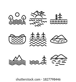 lake icon or logo isolated sign symbol vector illustration - Collection of high quality black style vector icons