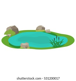 Lake, icon lake, water, stones, reeds, grass. Flat design, vector.
