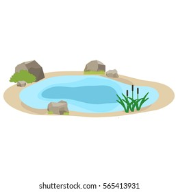 Lake, icon lake, water, stones, reeds, grass. Flat design, vector illustration, vector.