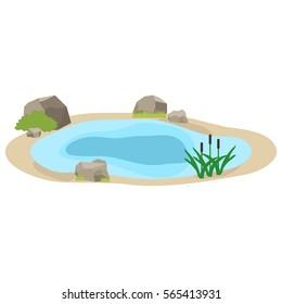 Lake, icon lake, water, stones, reeds, grass. Flat design, vector illustration, vector.