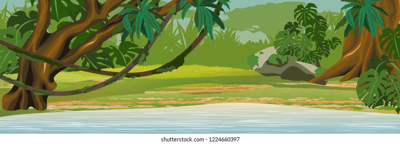 Lake in the jungle. A tropical forest. Rainforests of Amazonia. Tree, epiphytic ferns, creepers, banana trees and monsteras. Realistic Vector Landscape