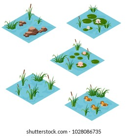 Lake landscape isometric tile set, Cartoon or game asset to create forest or garden lake or pond scene. Isometric isolated tiles with water, grass, ducks, lilies, reeds. Vector illustration