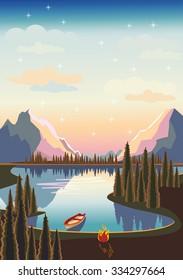 Lake in a mountainous region. Vector illustration.