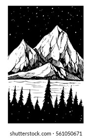 Lake and mountains. Tattoo sketch. Vector print.
