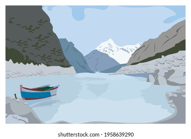 LAKE AND MOUTAINS LANDSCAPE VECTOR LAYERS