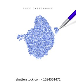 Lake Okeechobee sketch scribble map isolated on white background. Hand drawn vector map of Lake Okeechobee. Realistic 3D ballpoint pen or roller pen illustration.