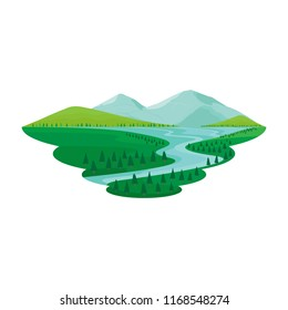 Lake and River Pine Forest Mountain View Landscape Vector