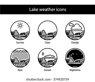 Lake round weather icons, black and white.
