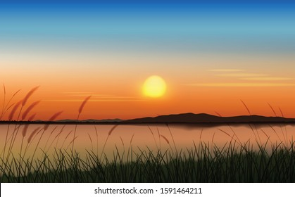The lake scenery at twilight graphic vector