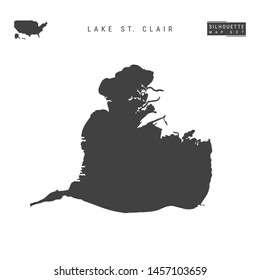 Lake St. Clair Blank Vector Map Isolated on White Background. High-Detailed Black Silhouette Map of Lake St. Clair.