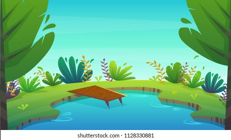 lake summer nature holiday vocations , dock at seashore water , bright plants and trees landscape background . cartoon vector illustration