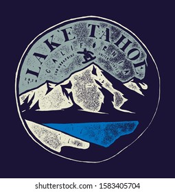Lake Tahoe vintage snowboarding label with a mountain and little person boarding vector illustration.