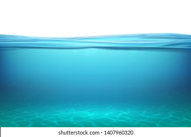 Lake underwater surfaces. Relax blue horizon background under surface sea, clean natural view bottom pool with sun rays. Vector illustration ocean
