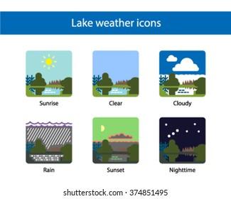 Lake weather square icon, colored.