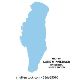 Lake Winnebago (Wisconsin, United States) map vector
