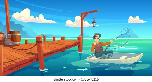 Lake with wooden pier and fisherman in boat. Vector cartoon illustration of summer landscape with river, sea bay or pond, wharf and man in hat with fishing rod in boat