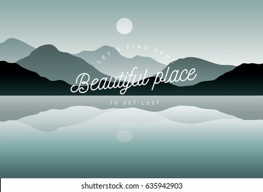 lake/river and mountain landscape vector/illustration