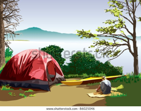 A lakeside campsite with a tent and a kayak. A girl is sitting on a blanket reading a book. A mountain is visible across the lake. A beautiful scene on a sunny summer day.