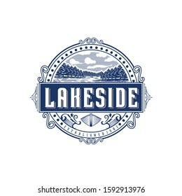 Lakeside vintage logo design inspiration. Vintage lake logo design inspiration.