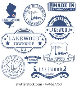 Lakewood township, New Jersey. Set of generic stamps and signs.