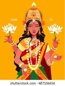Lakshmi - Hindu goddess of wealth, fortune and prosperity. Greetings Card Design Indian Hindu Light Festival called Diwali. Vector illustration