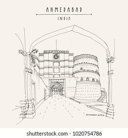 Lal Darwaza - Red Gate in Ahmedabad, Gujarat, India. Travel sketch art. Vintage hand drawn postcard in vector