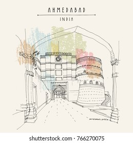 Lal Darwaza - Red Gate in Ahmedabad, Gujarat, India. Travel sketch art. Vintage hand drawn postcard in vector