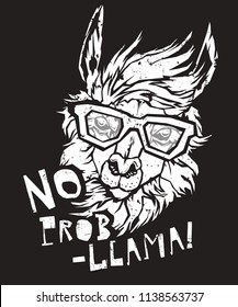 LAMA Alpaca in eyeglasses, Hipster style drawing, t-shirt design. Object for advertisement, web page design, poster, banner, print element. vector illustration.